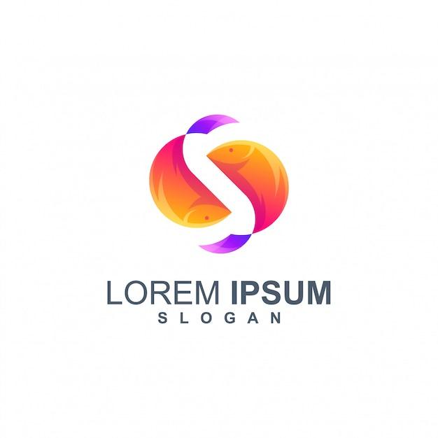 Vetor de design de logotipo de cor de peixe Vetor Premium
