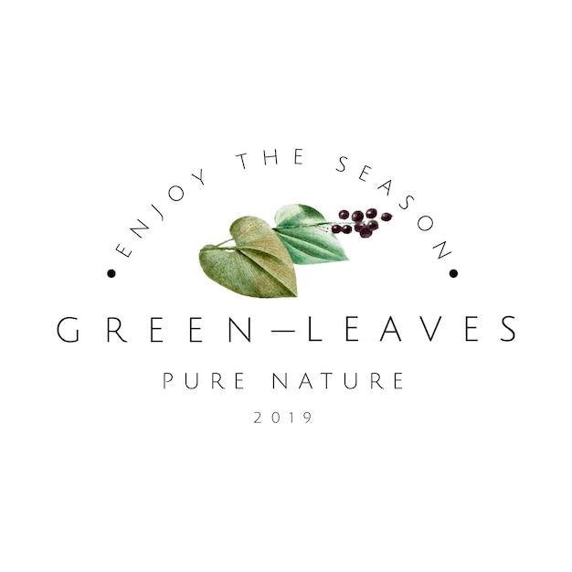 Vetor de design de logotipo de folhas verdes Vetor grátis