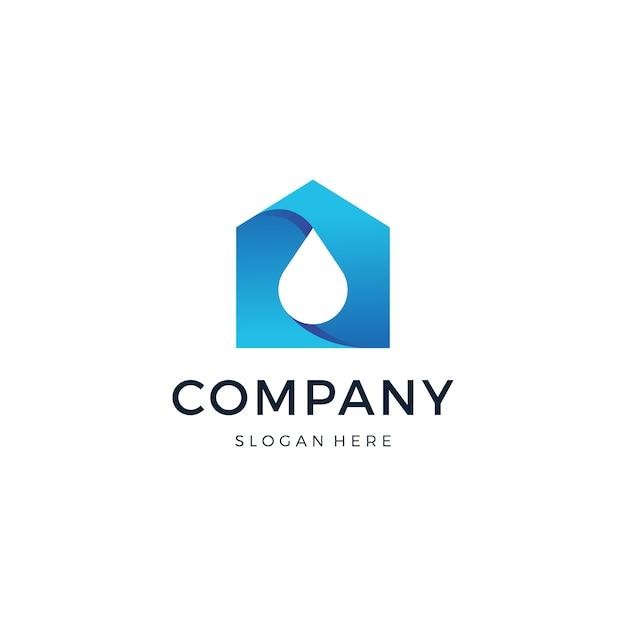 Vetor de design de logotipo de gota em casa Vetor Premium