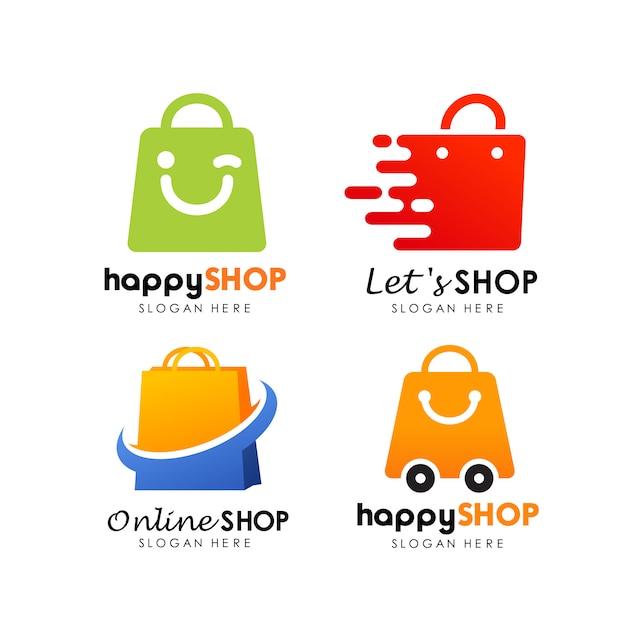 Vetor de design de logotipo de loja comercial Vetor Premium