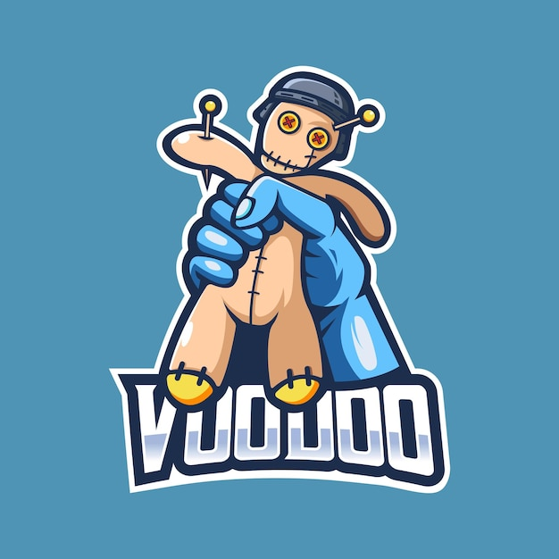 Vetor de design de logotipo de mascote de boneca vodu Vetor Premium