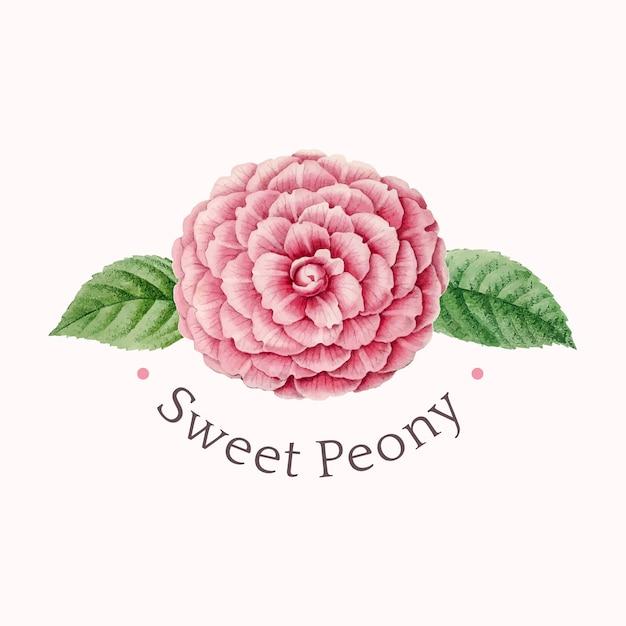 Vetor de design de logotipo de peônia doce Vetor grátis