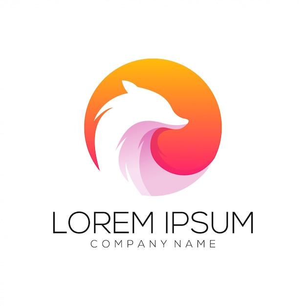 Vetor de design de logotipo de raposa Vetor Premium