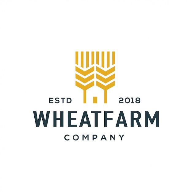 Vetor de design de logotipo de trigo. Vetor Premium