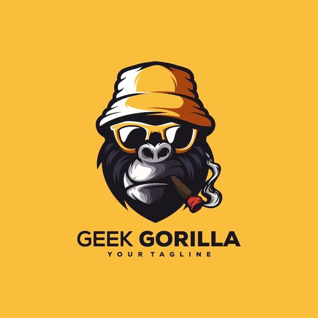 Vetor de design de logotipo gorila incrível Vetor Premium
