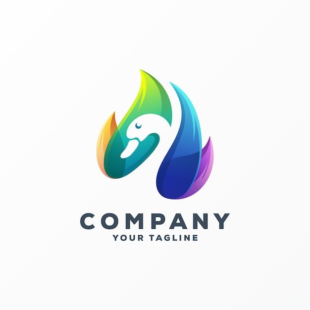 Vetor de design de logotipo incrível ganso Vetor Premium