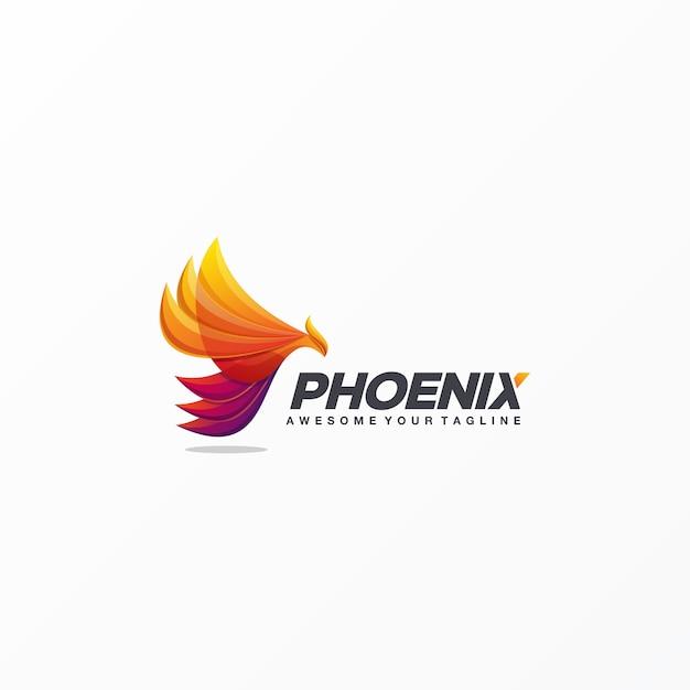 Vetor de design de logotipo incrível phoenix Vetor Premium
