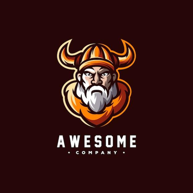 Vetor de design de logotipo incrível viking Vetor Premium