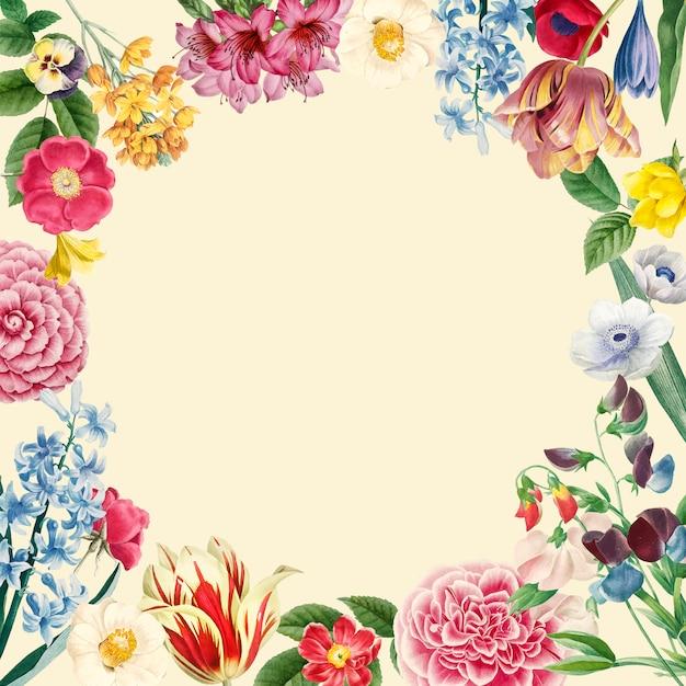 Vetor de design de moldura floral em branco Vetor grátis
