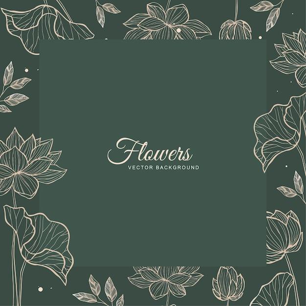 Vetor de design de moldura verde floral para modelo de convite de casamento Vetor Premium