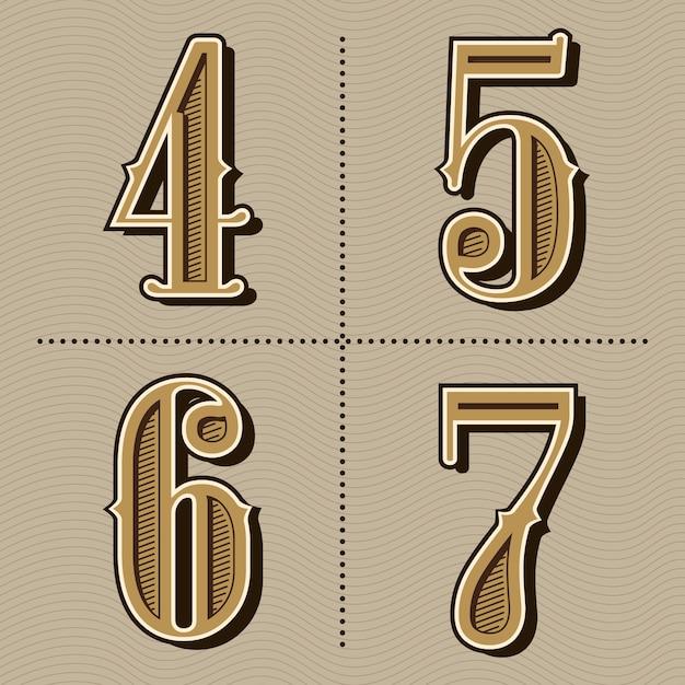 Vetor de design de números do alfabeto ocidental letras vintage Vetor Premium