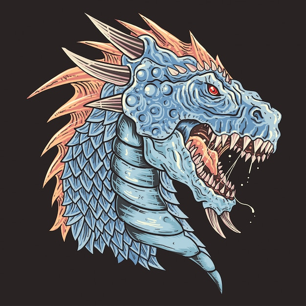 Vetor de detalhe de cabeça de dragão Vetor Premium