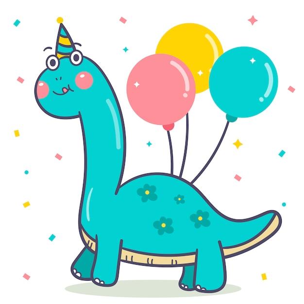 Vetor de dinossauro bonito para balão de feliz aniversário Vetor Premium