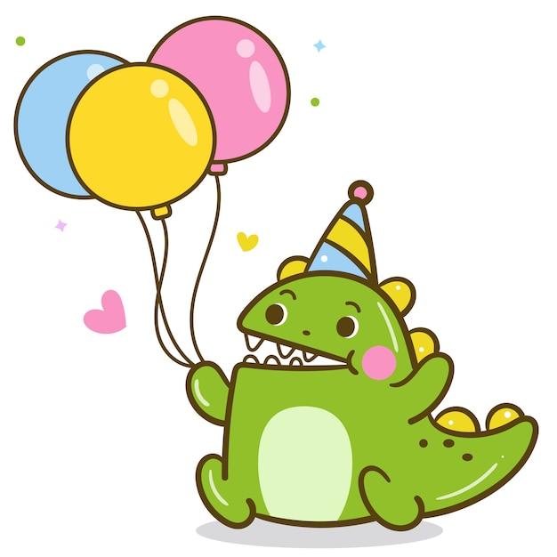 Vetor de dinossauros fofos segurando balão de festa Vetor Premium