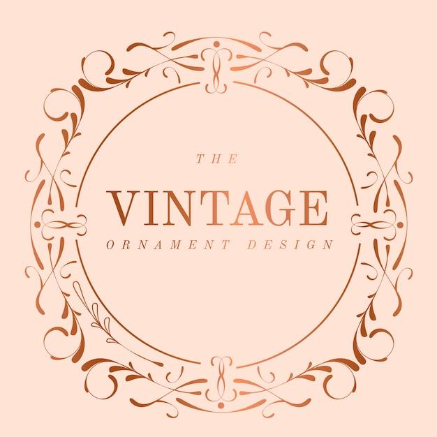Vetor de distintivo de nouveau art nouveau ouro rosa vintage Vetor grátis
