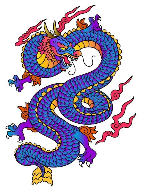 Vetor de dragão azul de estilo japonês Vetor Premium