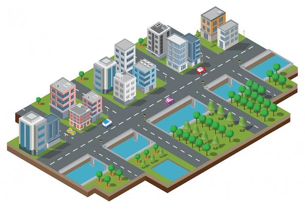 Vetor de edifício cidade isométrica. a cidade na jarda com estrada e árvores. ponte sobre o rio. cidade inteligente e parque público. edifício 3d, carros, capital, escritório de vetor e o conceito de metrópole. Vetor Premium