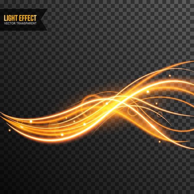 Vetor de efeito de luz transparente com brilhos dourados Vetor Premium