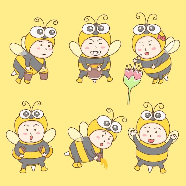 Vetor de elementos de design do personagem de desenho animado bonito em trajes de abelha. mascote de abelha. Vetor Premium