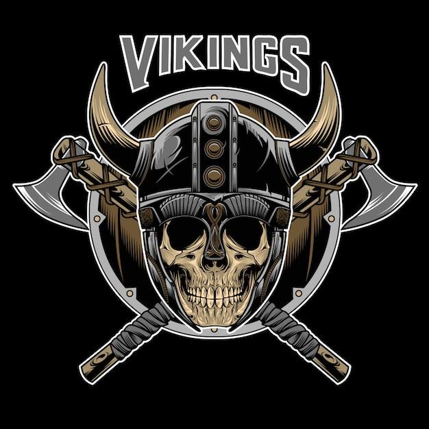 Vetor de emblema de guerreiro caveira de vikings Vetor Premium