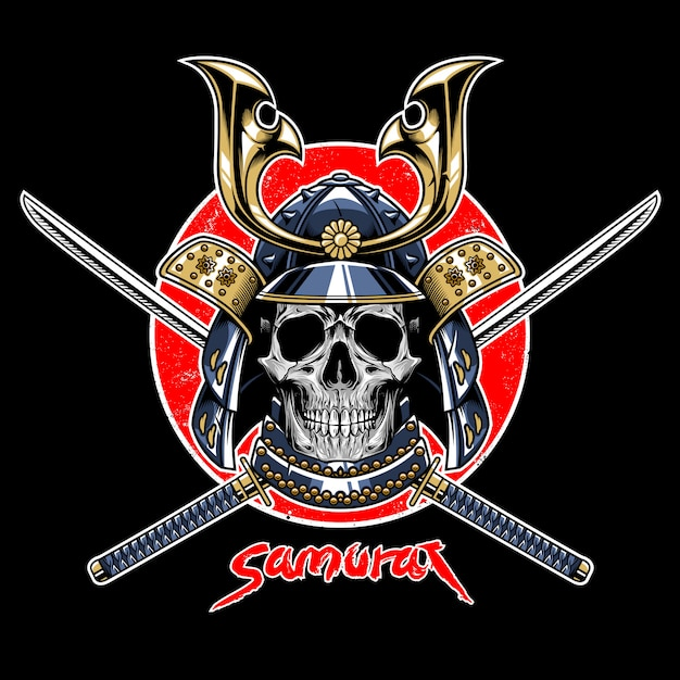 Vetor de emblema de guerreiro de crânio de samurai Vetor Premium
