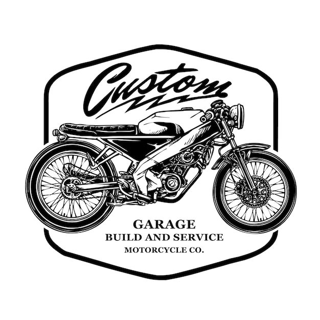 Vetor de emblema vintage personalizado de motocicleta Vetor Premium