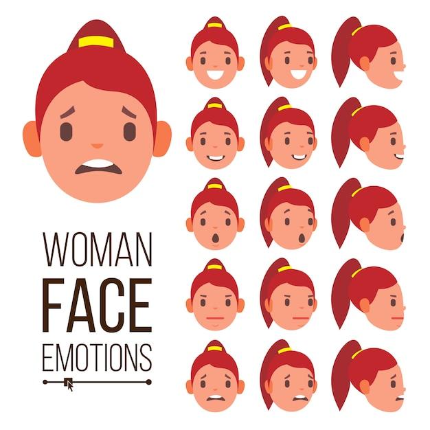 Vetor de emoções de mulher. fêmea de rosto bonito. bonito, alegria, risos, sorrow. retratos psicológicos de avatar de menina Vetor Premium