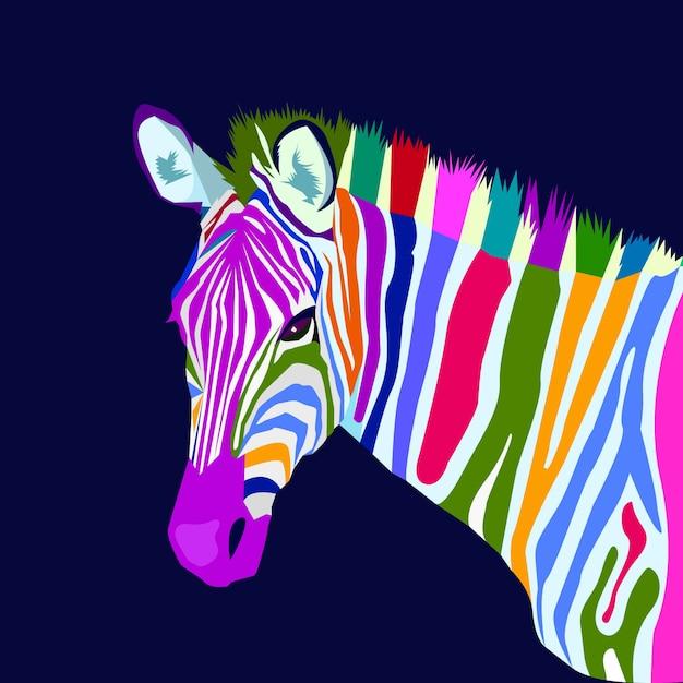 Vetor de estilo de arte pop de conceito de zebra colorido Vetor Premium