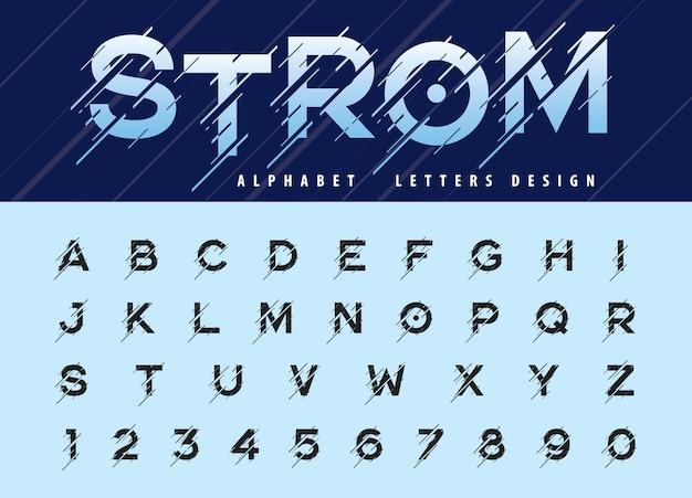 Vetor de falha alfabeto moderno letras e números, fontes estilizadas de tempestade em movimento Vetor Premium