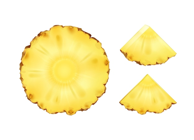 Vetor de fatias de abacaxi redondas e triangulares ou fatias isoladas no fundo branco Vetor grátis