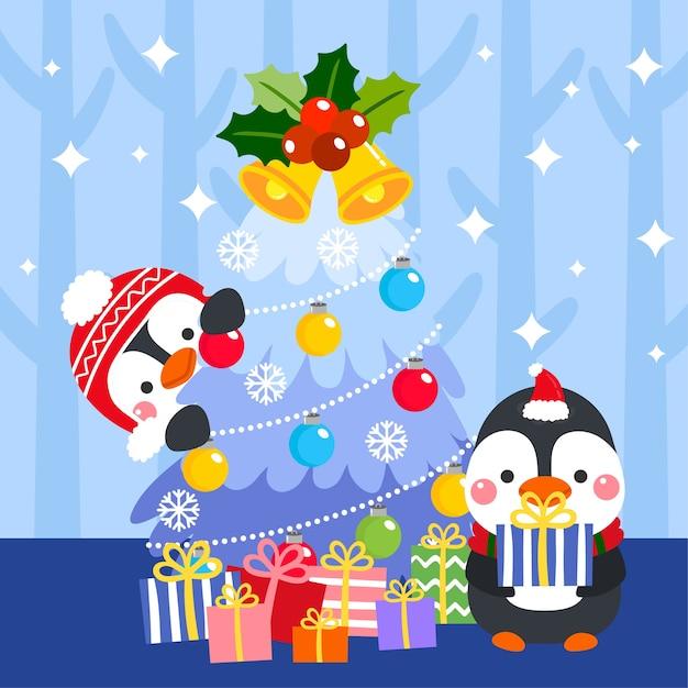 Vetor De Feliz Natal Bonito Dos Desenhos Animados Vetor Premium