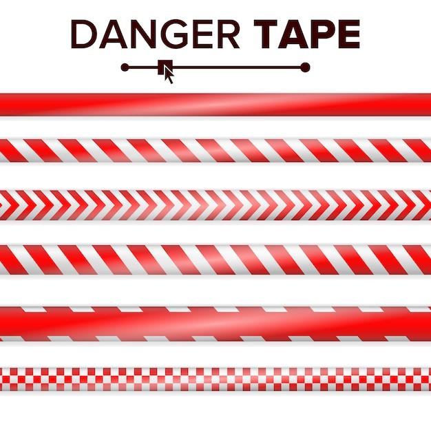 Vetor de fita de perigo. vermelho e branco. tiras de fita de advertência. conjunto de fitas de perigo de polícia realista de plástico Vetor Premium