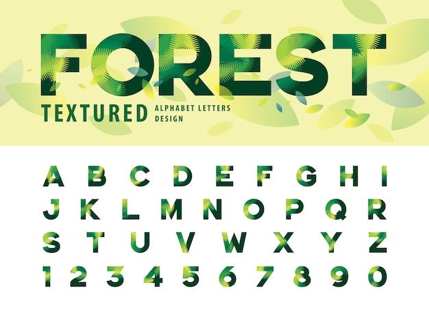 Vetor de folhas textura alfabeto letras, folha de palmeira verde letra Vetor Premium