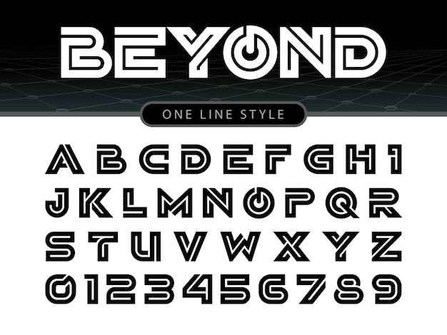Vetor de fonte arredondada estilizada e alfabeto Vetor Premium