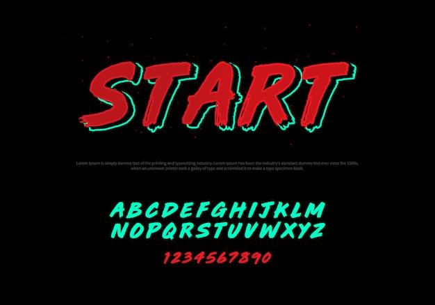 Vetor de fonte moderna estilizada e alfabeto. fonte de tipografia itálica de corrida Vetor Premium