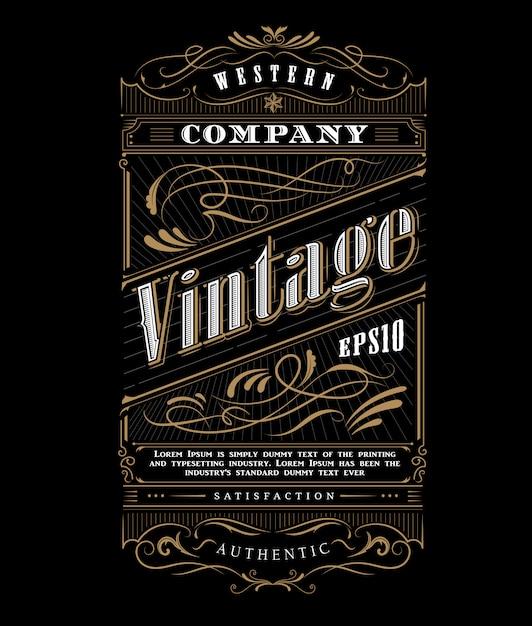 Vetor de fronteira de quadro de tipografia vintage ocidental Vetor Premium