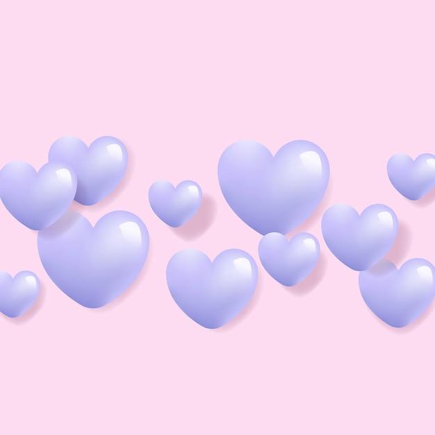 Vetor de fundo 3d de coração roxo. Vetor Premium