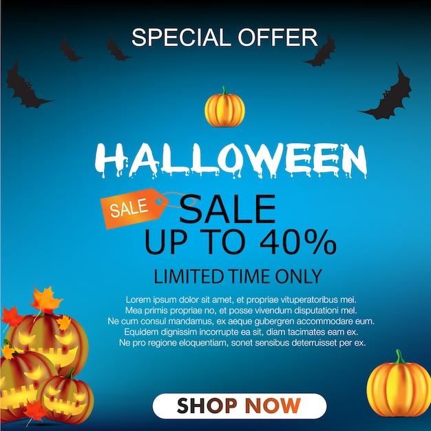 Vetor de fundo de banner de venda de halloween Vetor Premium