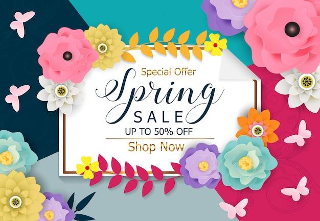 Vetor de fundo de banner de venda de primavera Vetor Premium