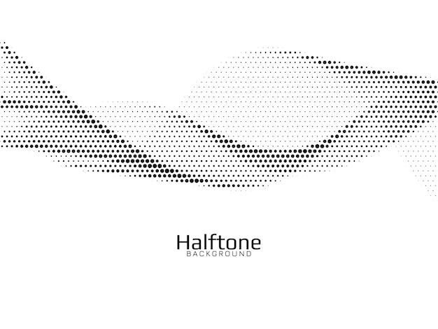 Vetor de fundo de design de meio-tom de estilo de onda Vetor grátis