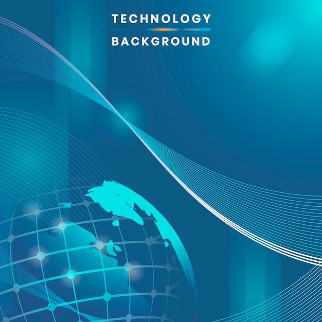 Vetor de fundo de tecnologia futurista de globo azul Vetor grátis
