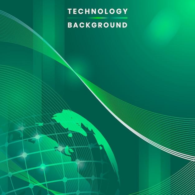 Vetor de fundo de tecnologia futurista globo verde Vetor grátis