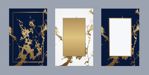 Vetor de fundo dourado de luxo de mármore de cartão de casamento Vetor Premium