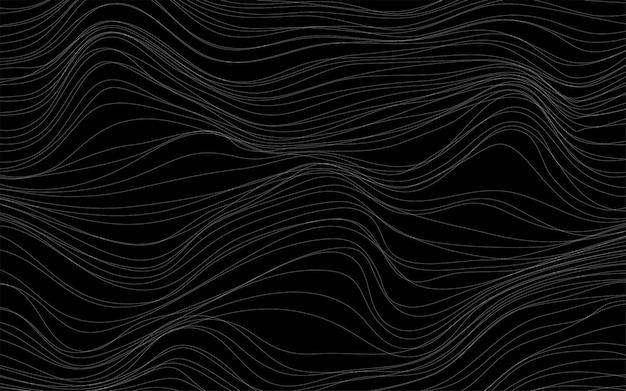 Vetor de fundo preto de texturas de onda Vetor grátis