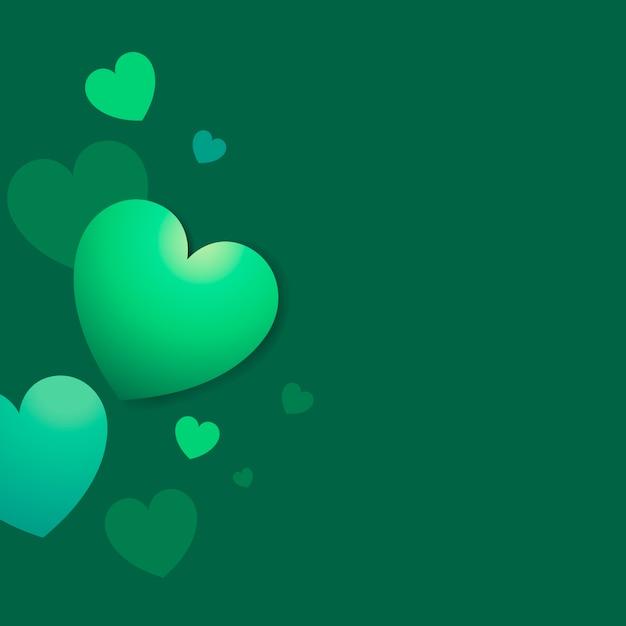 Vetor de fundo verde corações coloridos Vetor grátis