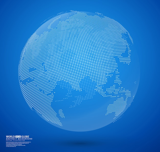 Vetor de globo pontilhado abstrato azul Vetor Premium