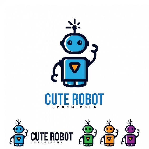 Vetor de ícone bonito robô. Vetor Premium