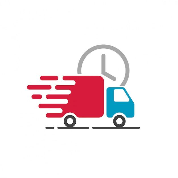 Vetor de ícone de caminhão de entrega para o símbolo de serviço de transporte rápido Vetor Premium