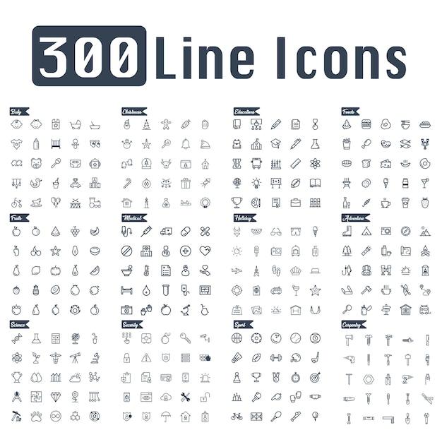 Vetor de ícone de linha 300 Vetor Premium