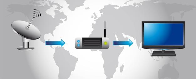 Vetor de ícones de tecnologia e comunicação sem fio Vetor Premium